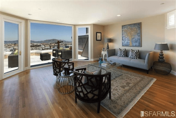 Large Open Living Room With Views Of The Bay