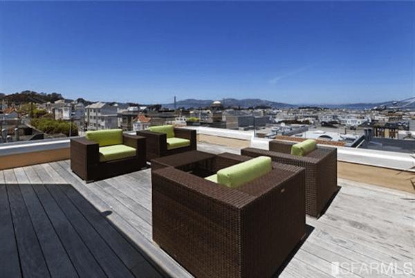 Spacious patio with Golden Gate Bridge Views