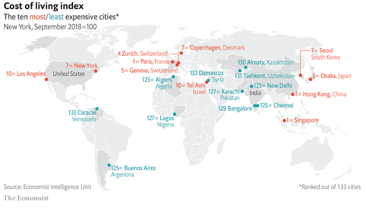 Cost of living index around the world - The Economist