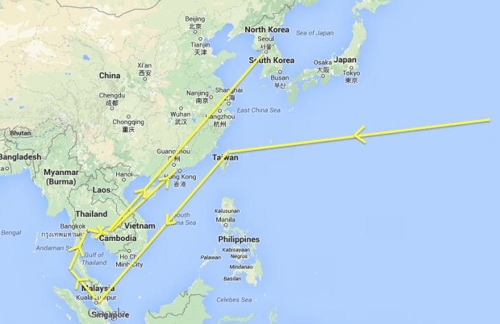 map of Asia itinerary - cost of traveling to Asia