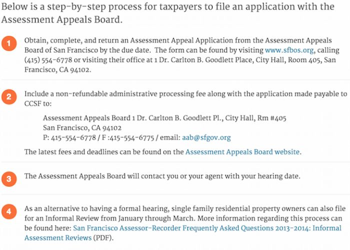 SF Property Tax Appeal Information