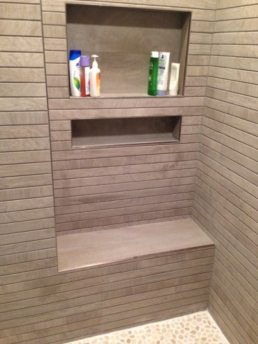 Custom porcelain tile shower bench