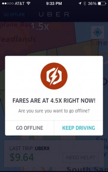 Fake 4.5X surge pricing to convince you to keep driving. Bullshit!