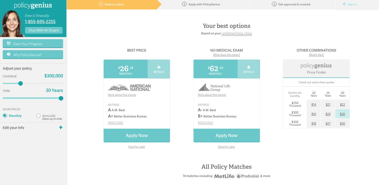 PolicyGenius comparison quotes - top financial products life insurance