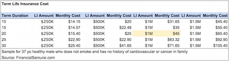 Affordable Life Insurance Cost Table