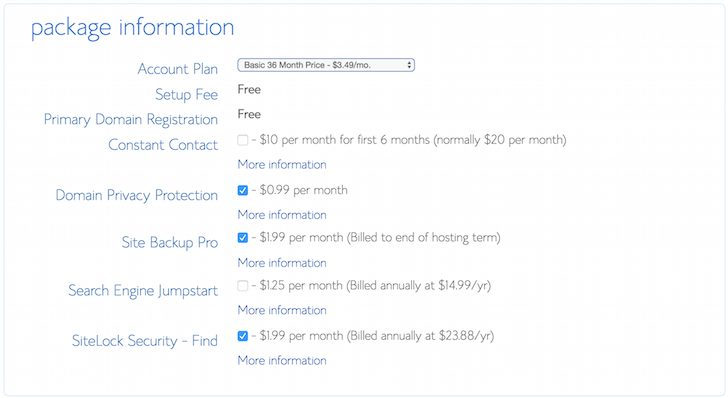 Bluehost.com Sign Up Options Package - How To Start A Blog