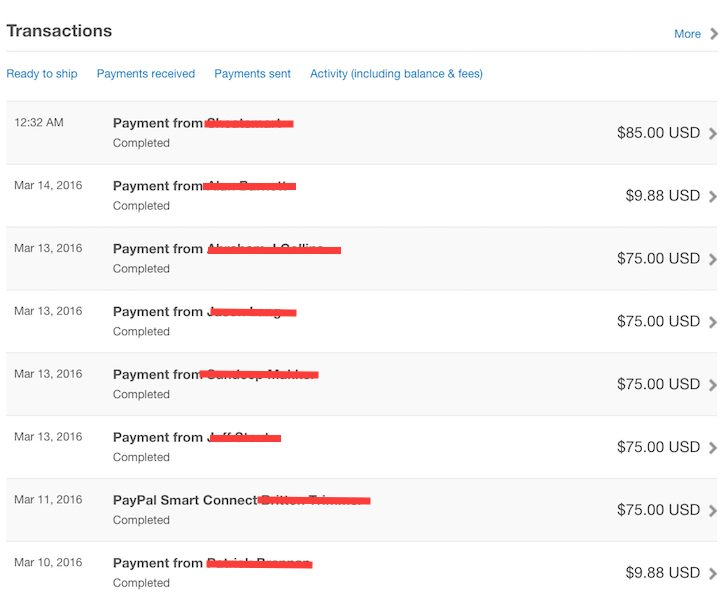 Passive Income Screen Shot From Paypal