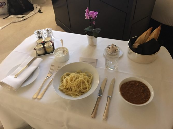 Room service spaghetti bolognese