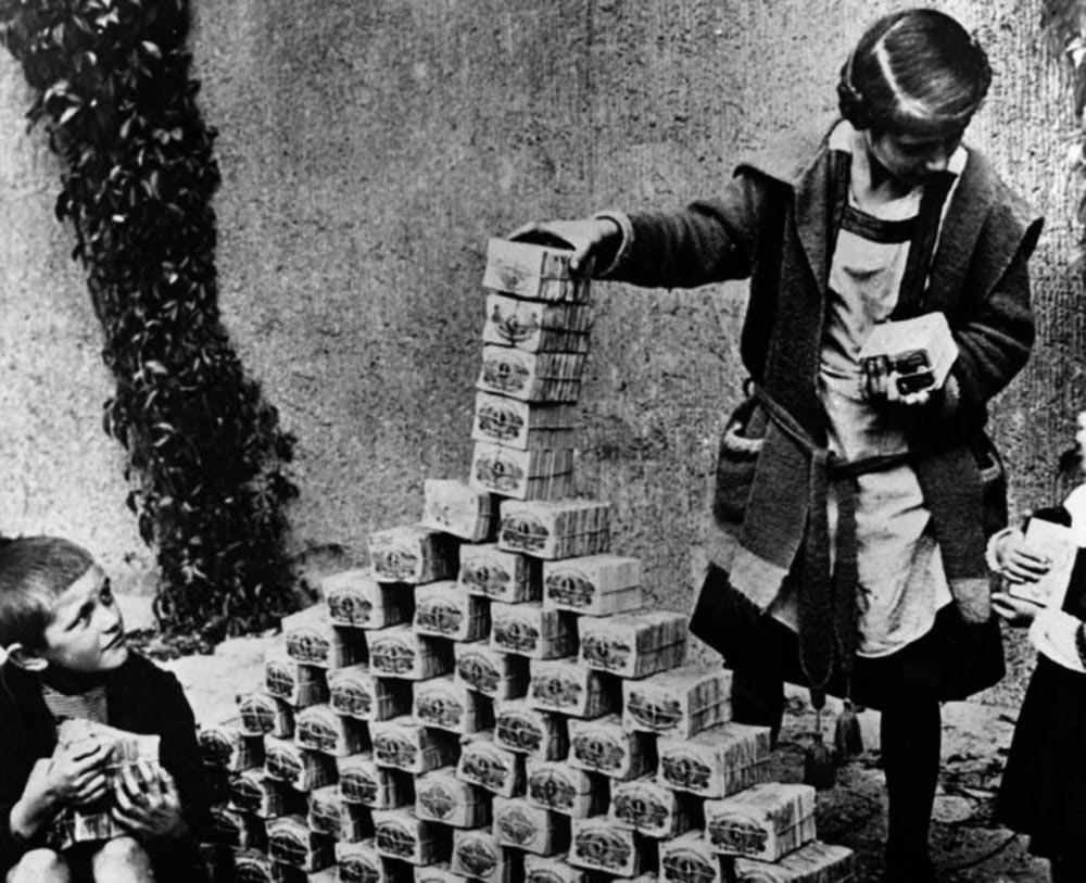 Hyper-inflation post world war I, children playing with bricks of cash