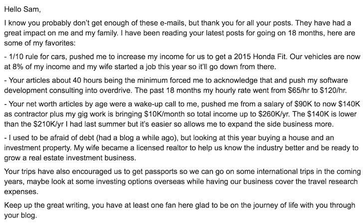 Financial Samurai reader thank you e-mail