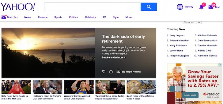 Financial Samurai On Yahoo Front Page
