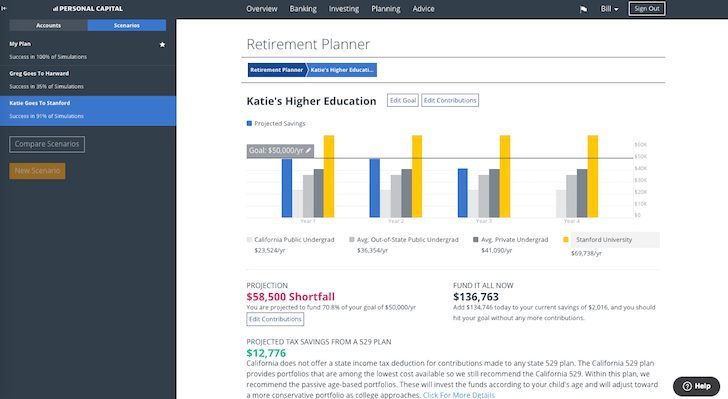 Personal Capital College Planning Feature