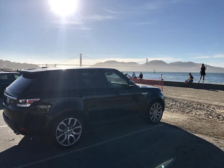 Moose II, a 2015 Range Rover Sport overlooking the Golden Gate Bridge, San Francisco - family car