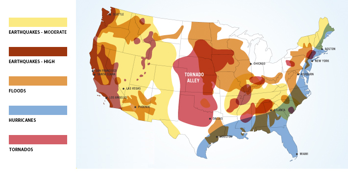 Map of high risk areas of the United States for natural disasters