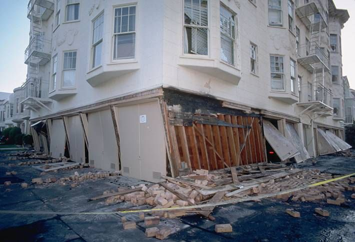 Toppled Marina building due to 1989 earthquake