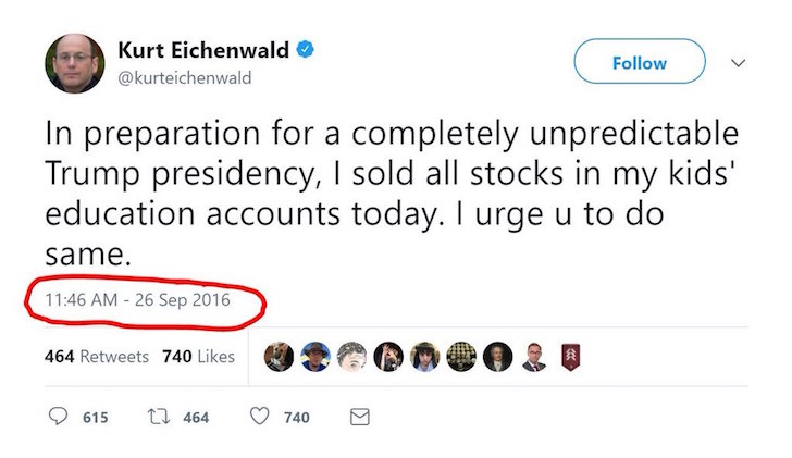 Kurt Eichenwald sold all his stock announcement on twitter