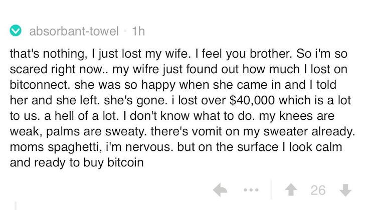 Bitconnect lost money comment joke