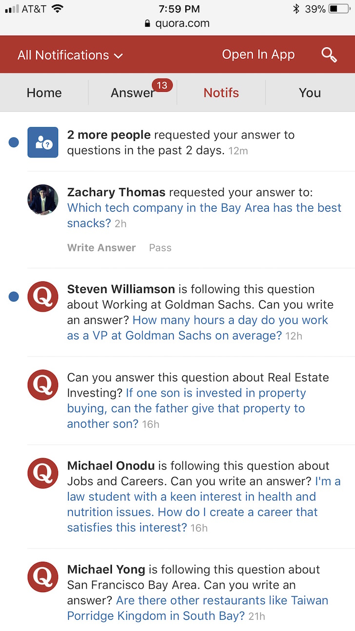 Never ending annoying Quora notifications to ask me to answer questions