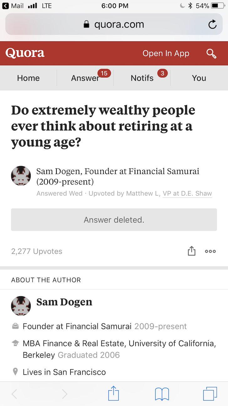 Financial Samurai on Quora