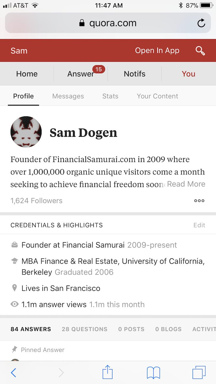 Financial Samurai on Quora one month record