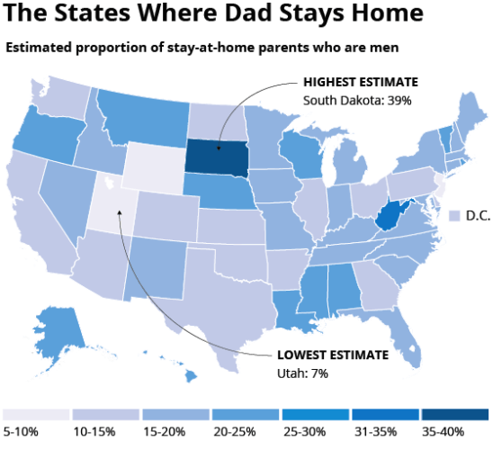 States where dad stays at home the most