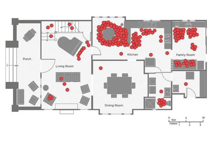 Map of where we hang out the most in a house
