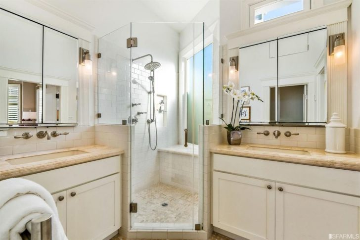 Remodeled Master bathroom with his and her sinks