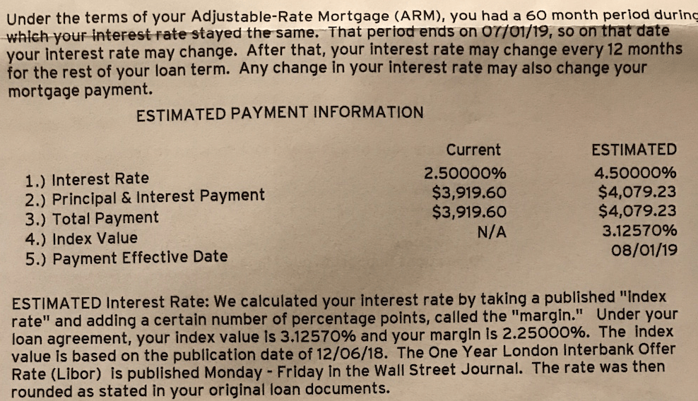 ARM Letter Estimated Payment At Reset = Adjustable rate mortgage increase cap