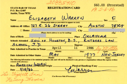 Proof Elizabeth Warren Believes She Is Native American