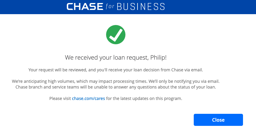 PPP Application Notification From Chase
