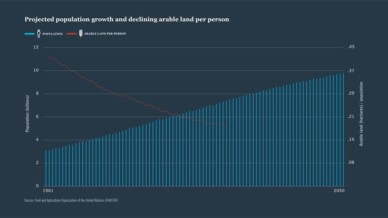 Farmland investing opportunity as population growth increases and arable land per person decreases