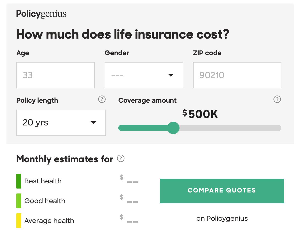 Policy Genius Life Insurance Cost Calculator