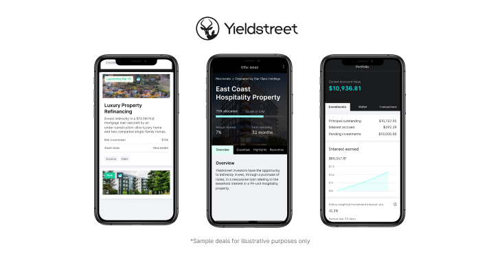 Yieldstreet overview: Picture of app