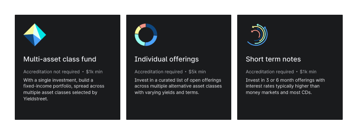 Yieldstreet multi-asset class fund, individual offerings, and short-term notes