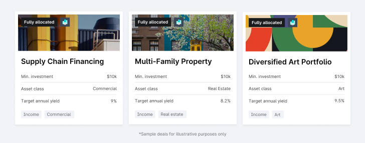 Yieldstreet Supply Chain Financing, Multi-family property, diversified Art Portfolio