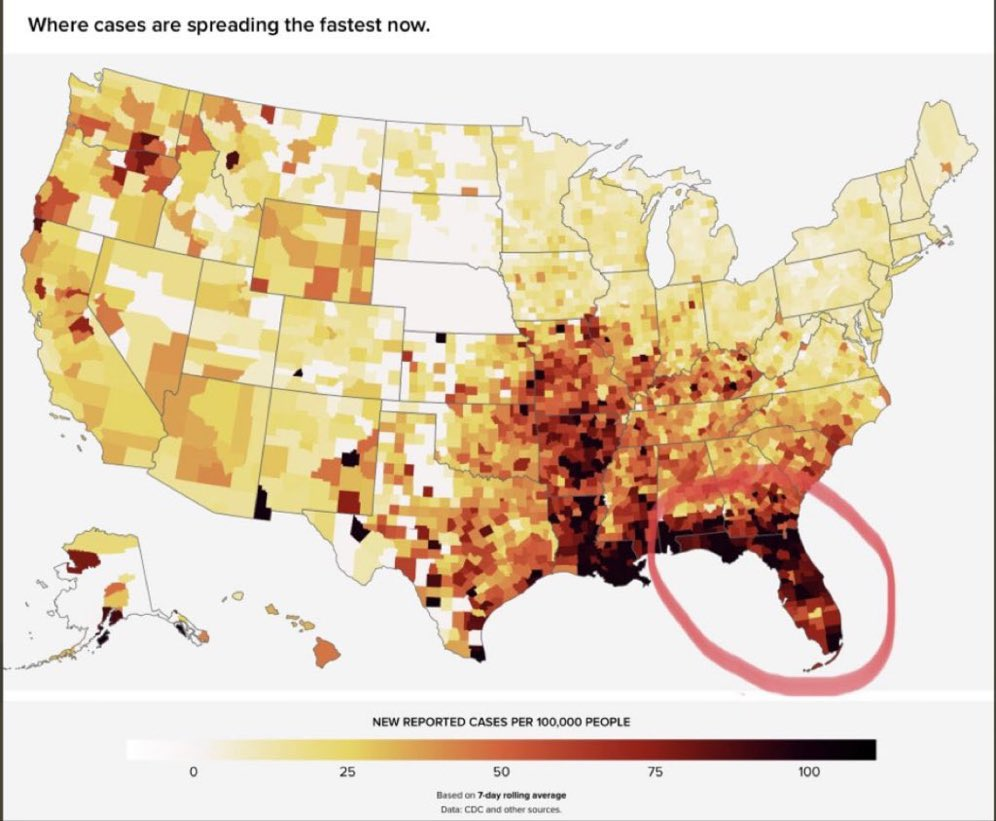 Delta variant spreading heavily in Florida and the South