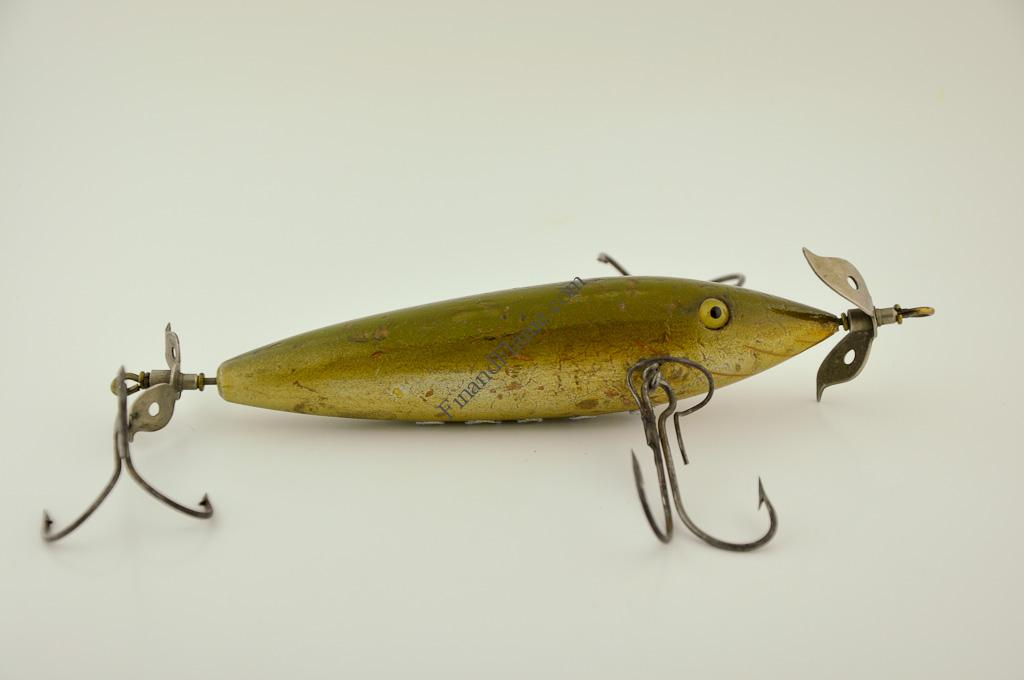 Keeling musky expert minnow lure fin and flame antique lures for Musky fishing lures