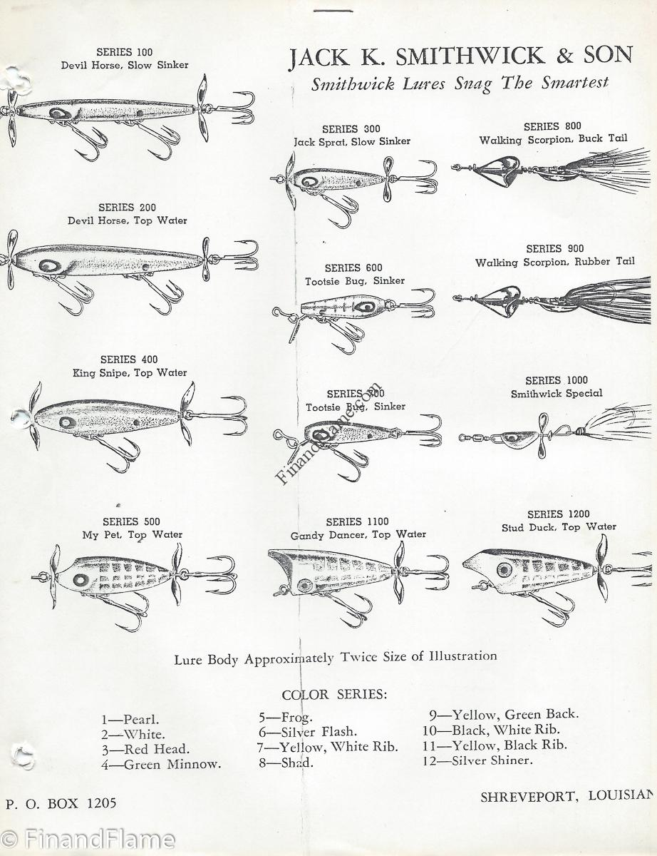 Smithwick Lure Early Sales Sheet