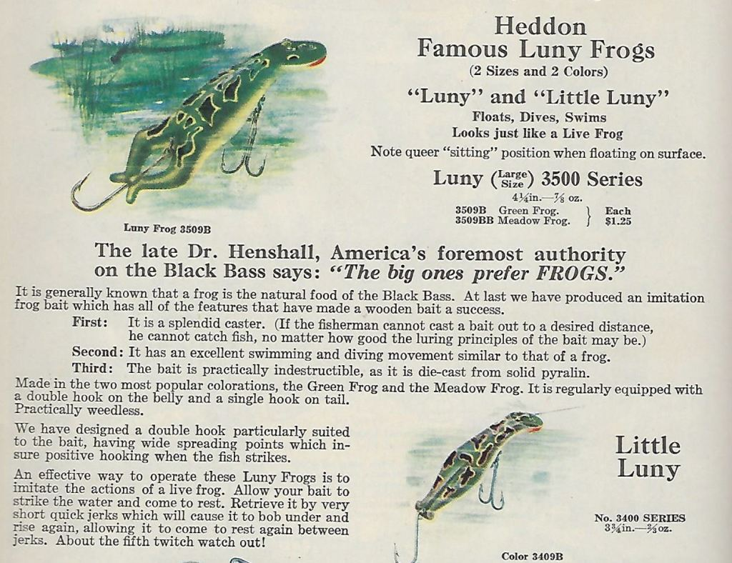 Heddon Luny Frog Lure Catalog Page 1928
