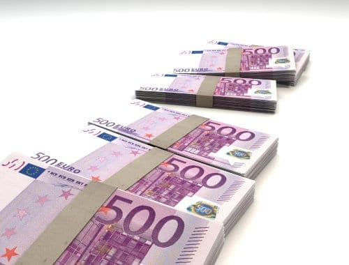 Pliki banknotów 500 euro