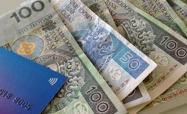 banknoty i karta bankowa