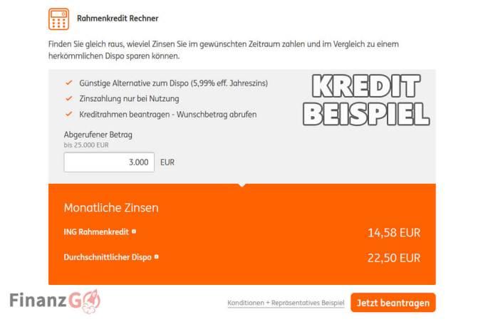 ING DiBa mini eilkredit Beispiele mit 3000 Euro