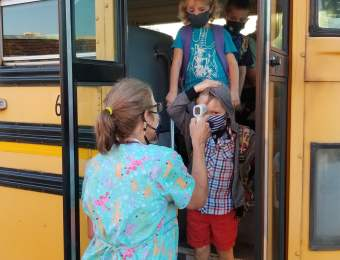 The start of the 2020-21 school year looked very different from how it has in the past at Breckinridge Elementary.Students have quickly settled into their routines, whether they are fully remote, partly remote, or in the building for four days a week.On the first day, Nurse Tina checked temperatures before students were allowed to get off the buses.