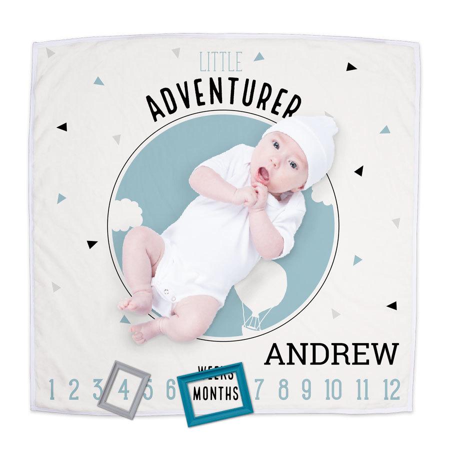 Milepælstæppe til baby med print Image