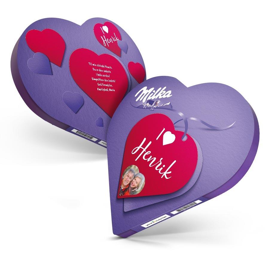 Milka-hjerte med navn og billede Image