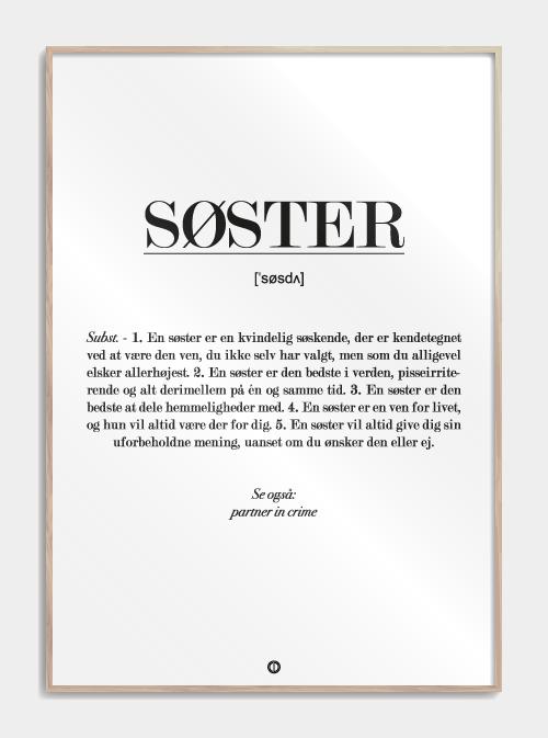 Søster definition – plakat Image