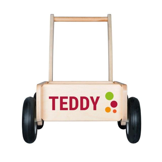 Wooden push bil med navn Image