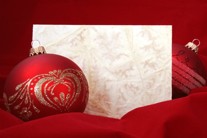 Two Red Christmas Balls with Blank Embossed Paper