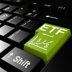 ETF word on the green enter keyboard image with hi-res rendered artwork that could be used for any graphic design.