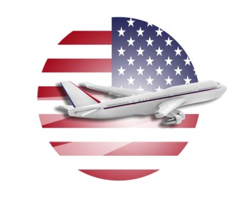Plane on the background flag of the United States. Travel concept.